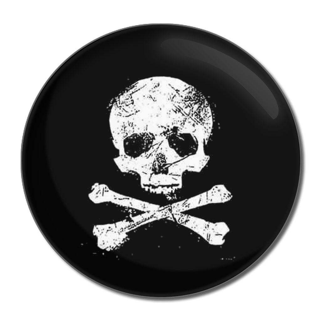 Distressed Skull and Crossbones - 55mm Round Compact Mirror BadgeBeast.co.uk 55mir-distressed-skull