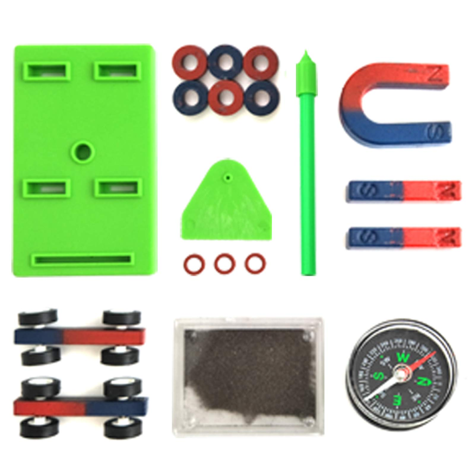 EUDAX Labs Junior Science Magnet Set for Education Science Experiment Tools Icluding Bar/Ring/Horseshoe/Compass Magnets