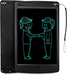 JONZOO LCD Writing Tablet, 8.5 inch Electronic Doodle Board Kids Drawing Board, Digital Handwriting Pad with Pen and Lanyard, Erasable Reusable eWriter Paper-Saving Tool for Home/School/Office, Black