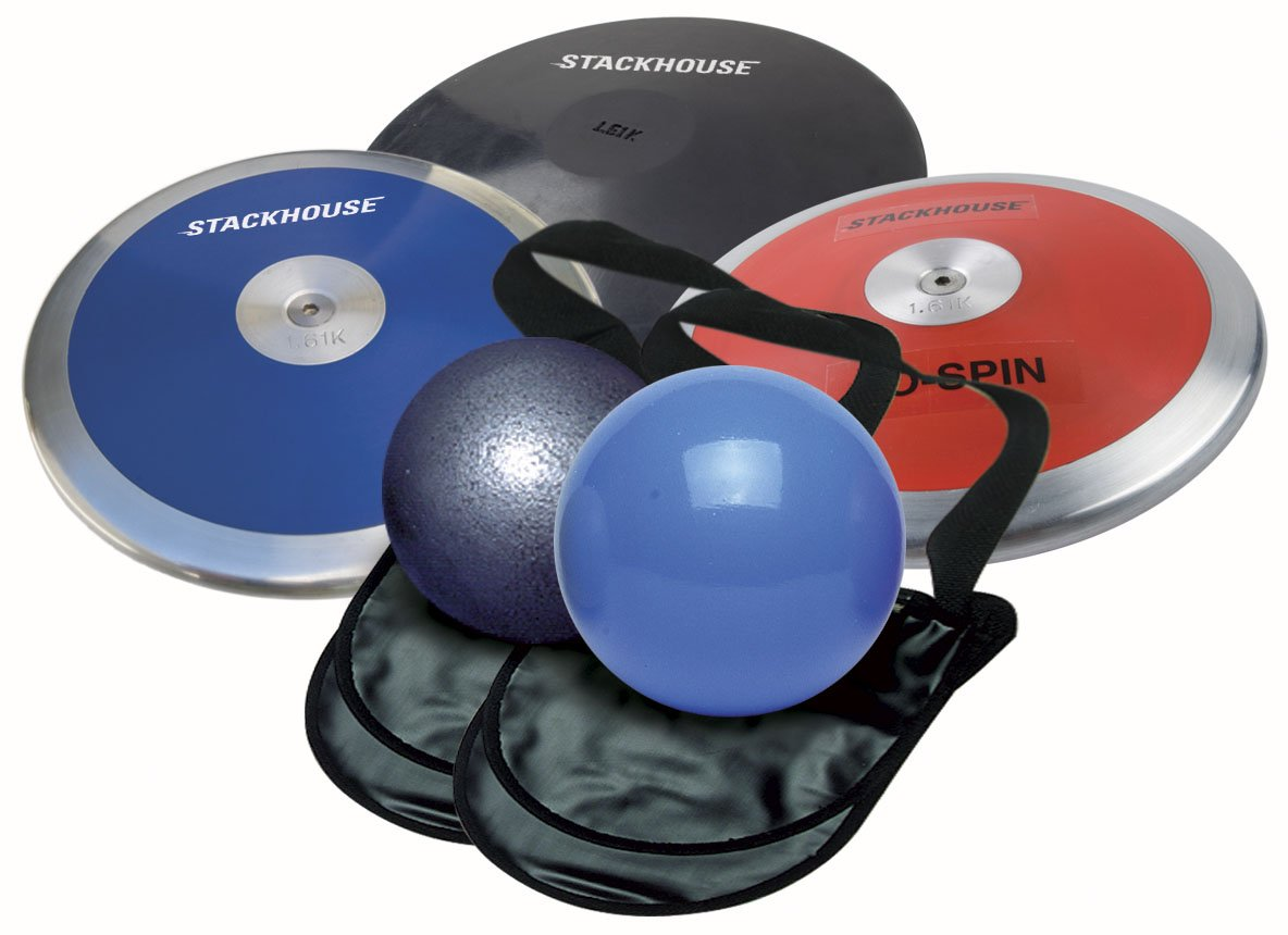 Men's Track and Field Throw Pack for High School. Package includes 2 - 12 lb shot puts, 3 - 1.6 kg discus and 2 carry bags. Perfect for competition and practice.