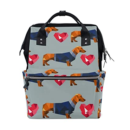 Amazon.com : DEYYA Dachshund Dog Polygon Diaper Bag Backpack ...