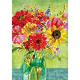 Watercolor Wildflowers - Standard Size, Decorative Double Sided, Licensed and Copyrighted Flag - Printed IN USA by Custom Decor Inc. 28 Inch X 40 Inch approx.