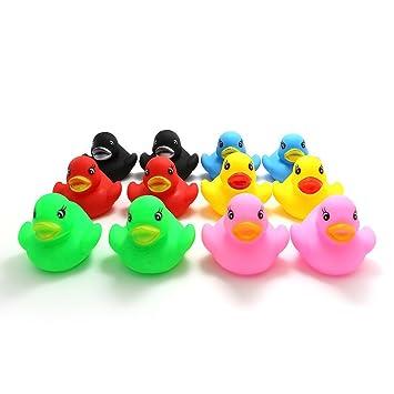 Novelty Place [Flotar y Pitar Patito de Goma Juguete para Bañera Baño del Bebé Pato de Goma para Niños Colores Variados (12 Unidades): Amazon.es: Hogar