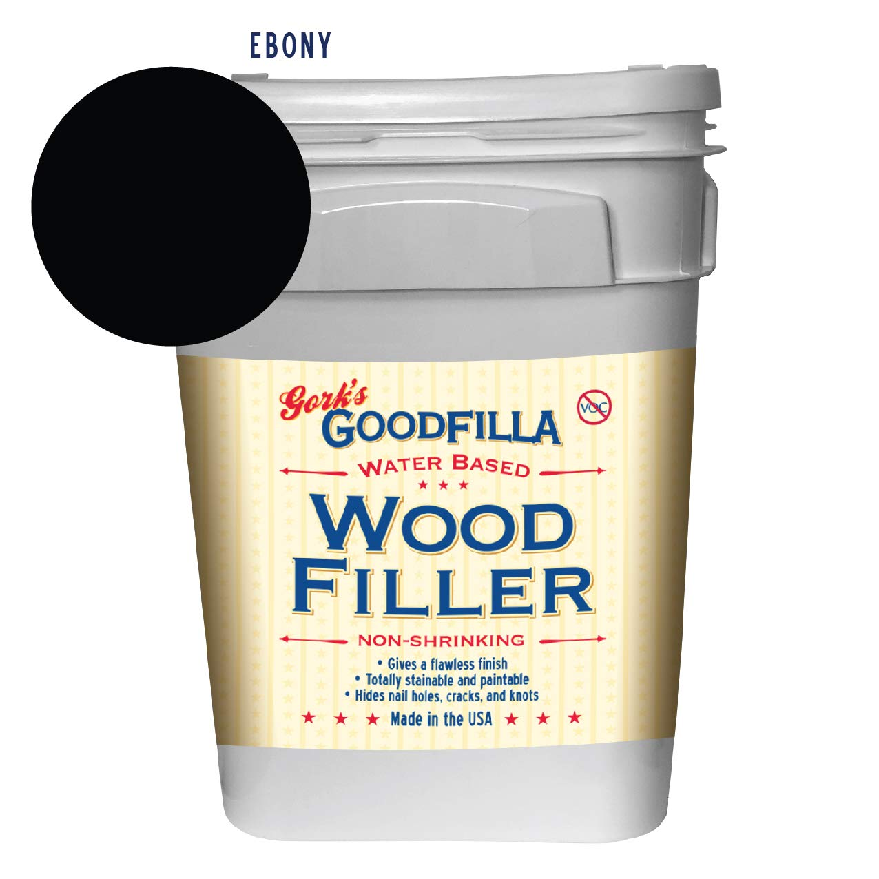 Water-Based Wood & Grain Filler - Ebony - 3.5 Gallon by Goodfilla | Replace Every Filler & Putty | Repairs, Finishes & Patches | Paintable, Stainable, Sandable & Quick Drying