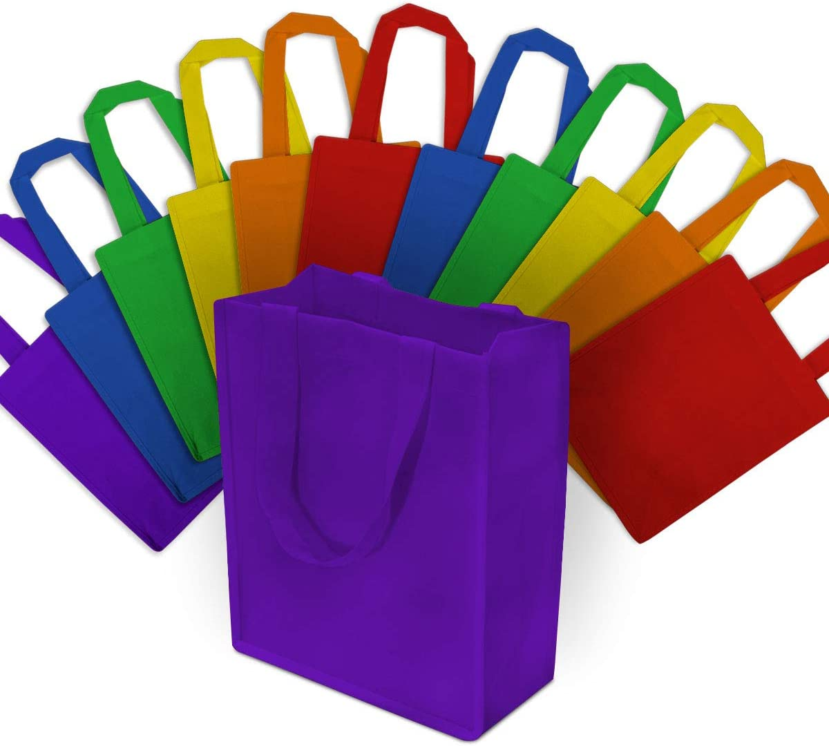 "8x4x10"" 12 Pcs. Medium-Small Multi Color Reusable Tote Bags, Grocery Bags, Fabric Shopping Bags with Handles Eco Friendly- 100% Recyclable Bag"