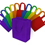 Small Multi Color Reusable Gift Bags, Tote Bags, Small Grocery Bags, Shopping Bags With Handles Eco Friendly- 100% Recyclable