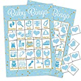 It's a Boy Baby Shower Bingo Game, Blue and Gold - 24 Guests