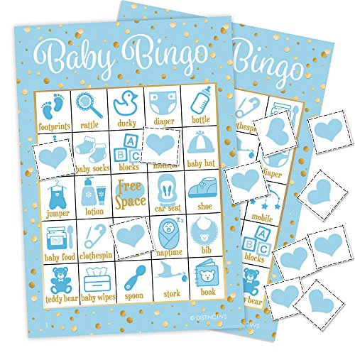 DISTINCTIVS It's a Boy Baby Shower Bingo Game, Blue and Gold - 24 Guests]()