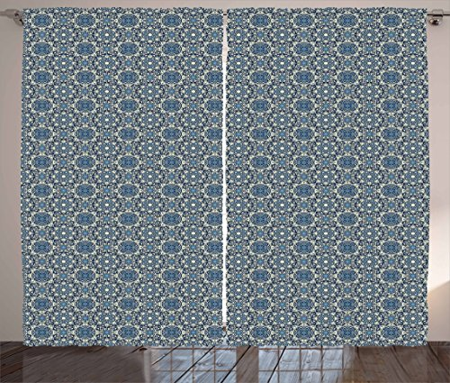 Arabian Curtains by Lunarable, Antique Oriental Ornament Floral Baroque Nature Artful Damask Inspired, Living Room Bedroom Window Drapes 2 Panel Set, 108 W X 84 L Inches, Eggshell Blue Dark Blue by Lunarable