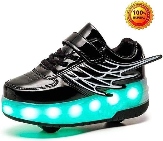 Led Luces Zapatos Con Ruedas Para Pequeños Niños Y Niña Automática Calzado De Skateboarding Deportes De Exterior Patines En Línea Brillante Aire Libre Y Deporte Gimnasia Running Zapatillas,Noir-37 EU: Amazon.es: Hogar