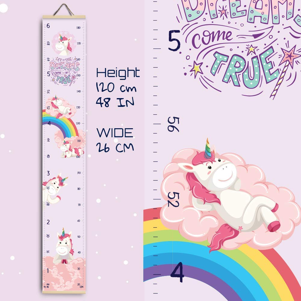Perfect Baby Shower Newborn Gift Size in Foot Inches Centimeters. Unicorn-Mermaid Height Growth Chart for Kids Nursery Hanging Wall Decor for Boy Girl Baby Measuring Canvas Ruler