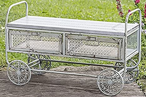 Mobili Da Giardino In Ferro : Arredamento da giardino carrello in ferro e legno tavolino con