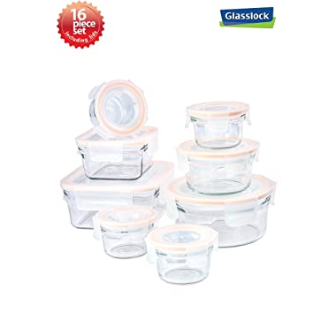 Tempered Glasslock Advanced Rim (Easy Open & Lock) Technology Storage Containers 16pc Square and Round set Microwave & Oven Safe Airtight Anti Spill Proof