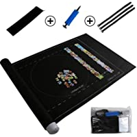 HassanBuy Jigsaw Roll Felt Mat Portable Puzzles Mat Felt Puzzle Mat Play Mat Puzzles Blanket for Up to 1500 Pieces Puzzles Travel Storage Bag Black