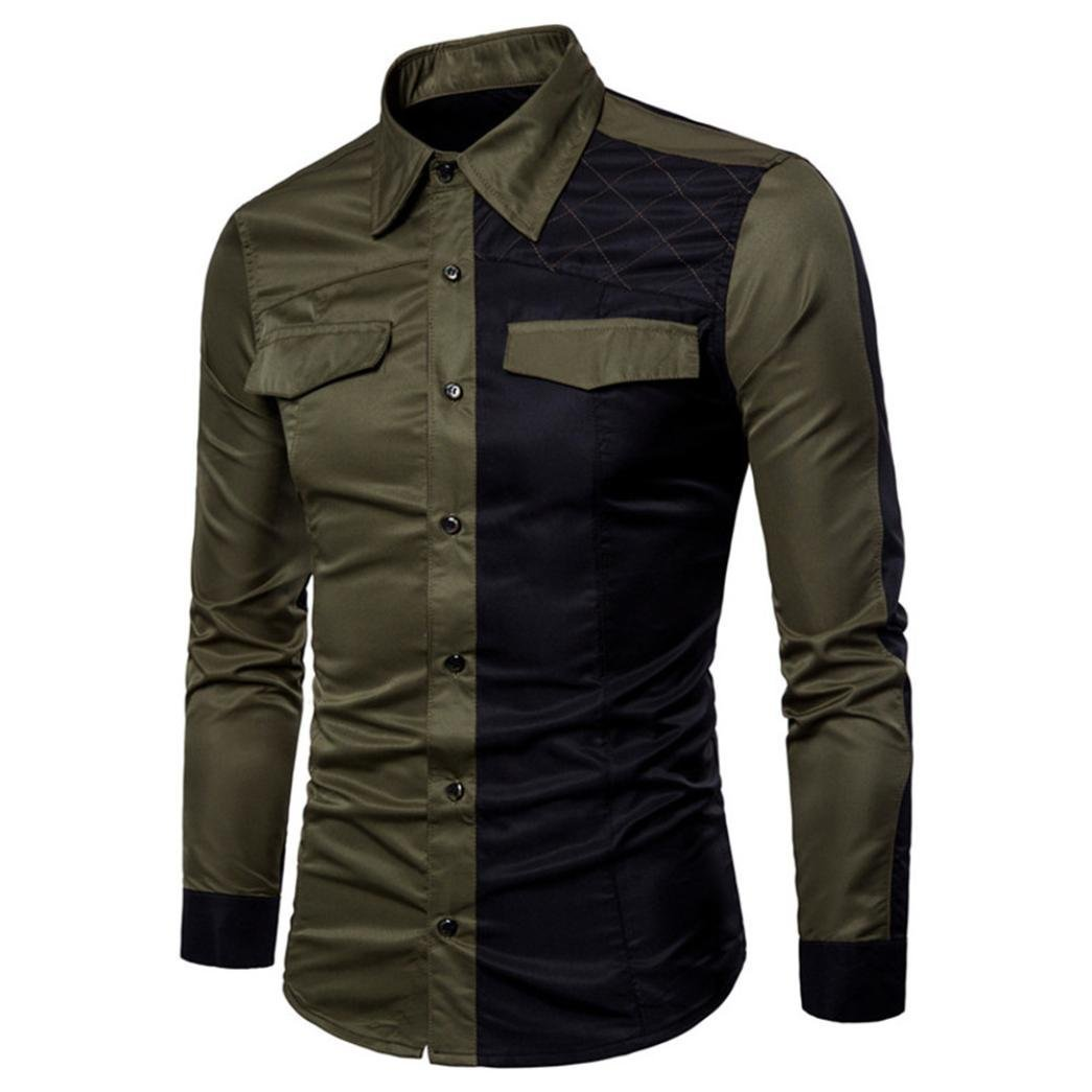 Pervobs Long Sleeve Shirts, Big Promotion! Mens Casual Long Sleeve Patchwork Pocket Formal Slim Fit Tee Shirts Blouse Top (M, Army Greem)