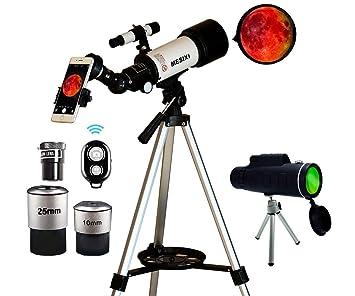 MESIXI Astronomical Telescope + Monocular Travel Scope 70mm Aperture 400mm  AZ Mount Astronomical Refractor Telescopes for Kids Adults Beginners -