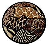 Masada Rugs Animal Prints Round Area Rug Design Skinz 70 Black (6 Feet 8 Inch X 6 Feet 8 Inch) Round