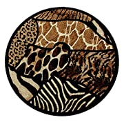 Animal Prints Round Area Rug Design Skinz 70 Black (6 Feet 8 Inch X 6 Feet 8 Inch) Round