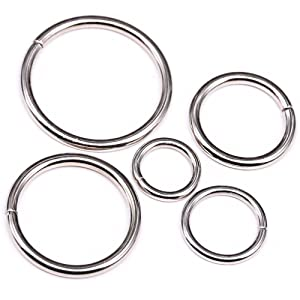 Swpeet 50 Pcs Sliver Assorted Multi-Purpose Metal O Ring for Hardware Bags Ring Hand DIY Accessories - 15mm, 19mm, 25mm, 32mm, 38mm
