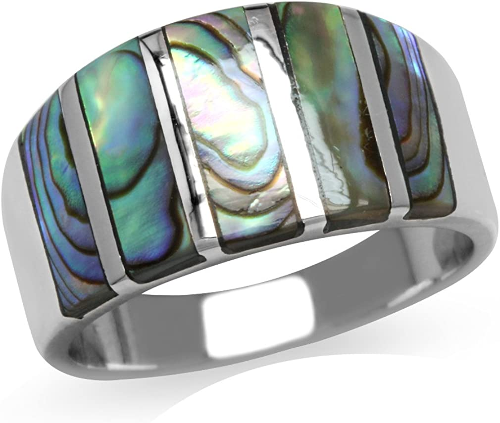Silvershake 5 Stone Inlay White Gold Plated 925 Sterling Silver Ring