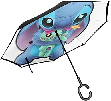 Windproof And Rainproof Double Folding Inverted Umbrella Winnie The Pooh Car Reverse Umbrella With C-Shaped Handle UV Protection Inverted Folding Umbrellas
