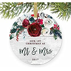 "Modern Farmhouse Mr & Mrs Ornament , 1st Christmas Married, First Gift for Newlywed Couple Bride Groom Rustic Present Ceramic Keepsake Present 3"" Flat Circle Porcelain with Gold Ribbon & Free Box"
