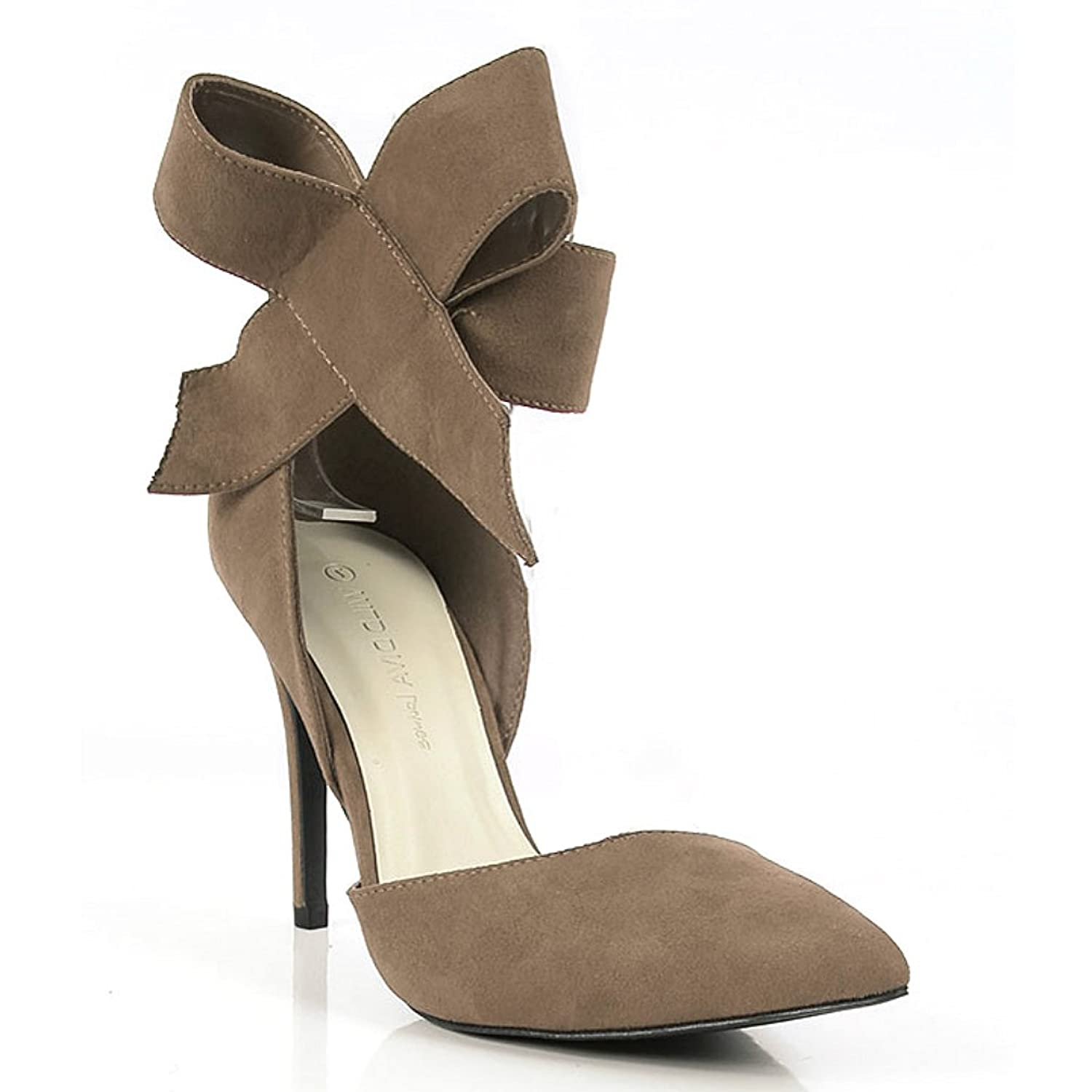 amazon com wild diva suede pointy toe high heel pump large bow