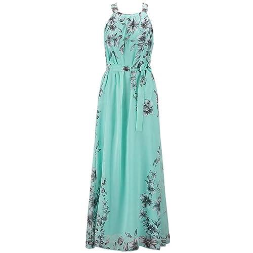 MissFox Womens Plus Size Dress Chiffon Printed Summer Beach Maxi Dresses L-6XL