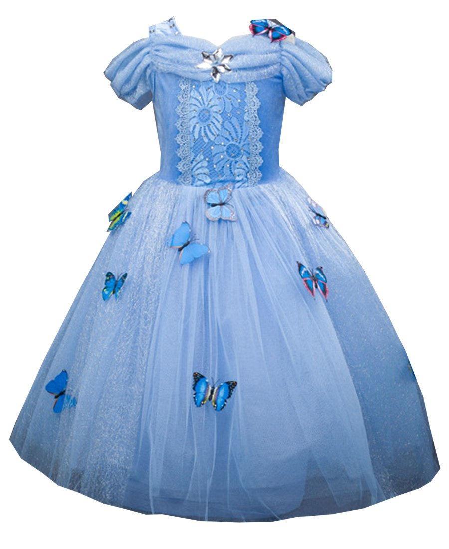 Girls Princess Dress up Costume Blue Butterfly Party Dresses for Halloween Christmas 3-4 years Old