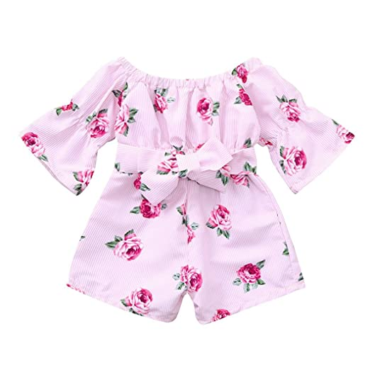 0816fffde75 Amazon.com  Sunbona Baby Girls One-Piece Rompers Jumpsuit Toddler Half  Sleeve Floral Print Overall Harem Pants Outfit  Clothing