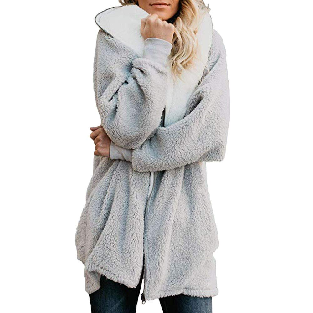 aihihe Plus Size Winter Coats for Women Warm Shaggy Lining Solid Oversized Fluffy Hooded Coats Jackets Outerwear Parka by aihihe Outerwear