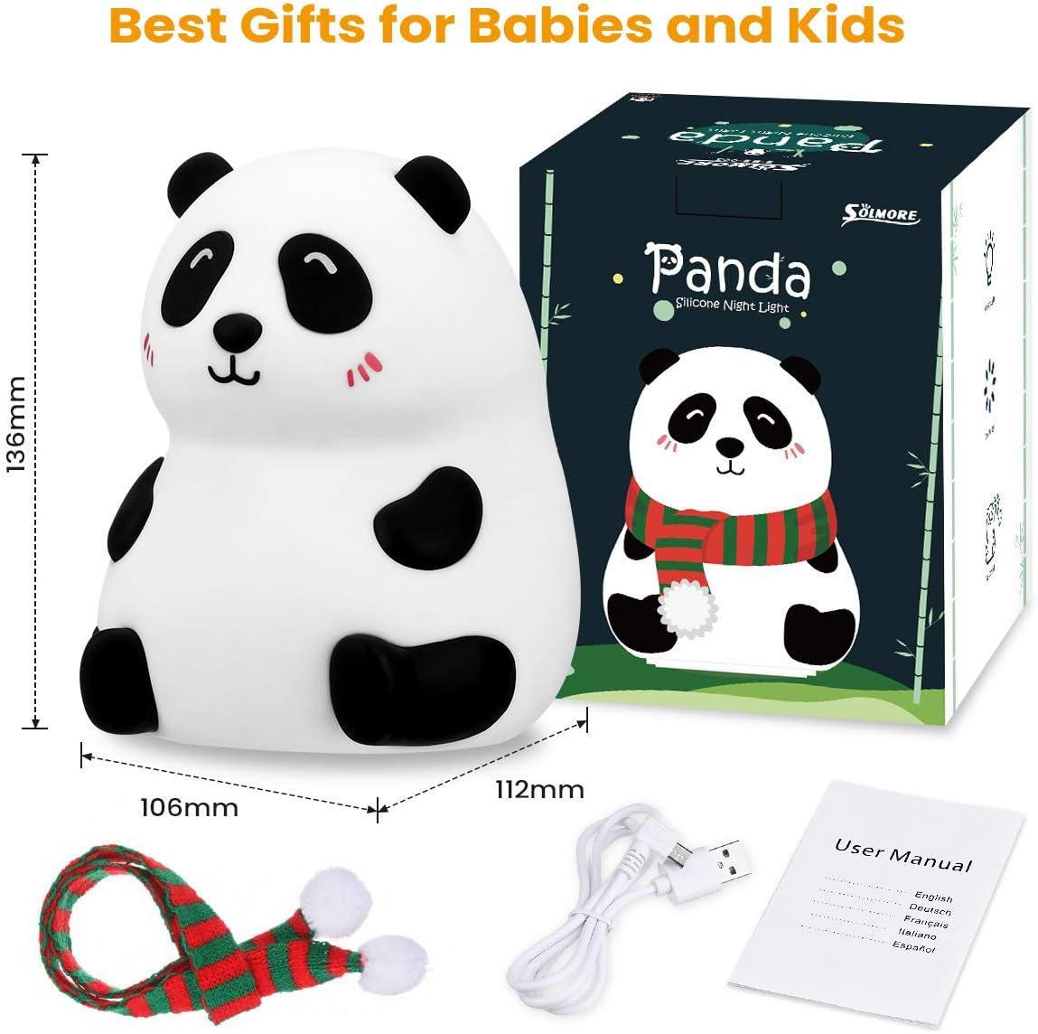 SOLMORE Panda Luz Nocturna Infantil L/ámpara para Beb/é en Silicona Suave con 7 Colores Cari/ñoso Regalo de Cumplea/ños y Fiestas USB Recargable L/ámpara Infantil LED Multicolores