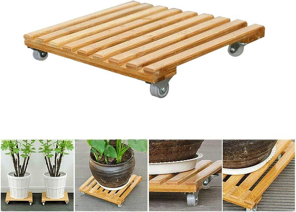 SAYEI - Bandeja de bambú para Maceta con Ruedas universales cuadradas y extraíbles: Amazon.es: Jardín