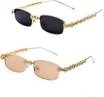 Rectangle Rhinestone Sunglasses Women Fashion Small frame square Diamond bling party Sun Glasses Crystal Vintage Shades