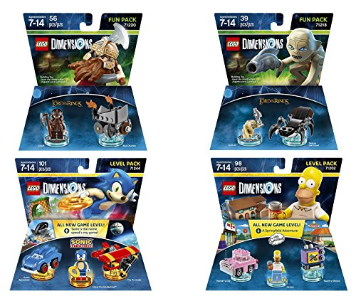 Sonic The Hedgehog Level Pack + The Simpsons Homer Simpson Level Pack +The Lord Of The Rings Gimli & Gollum fun packs - LEGO Dimensions - Not Machine Specific - Build N Race Wii