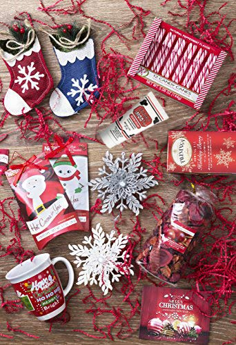 Christmas Gift Basket for Women: Ornaments, Tea, Candy Cane, Mug, Hot Chocolate, Hand Cream, Potpourri Set for Her by Charmed Crates (Image #2)
