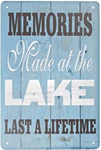 ZMKDLL Vintage Tin Sign Memories Made at The Lake Lake Sign Metal Sign for Plaque Poster Cafe Home Bar Coffee Wall Art Gift 11.8 X 7.8 INCH