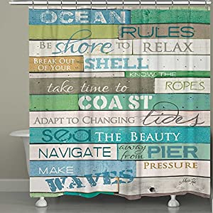 61ENGgb9OBL._SS300_ 200+ Beach Shower Curtains and Nautical Shower Curtains