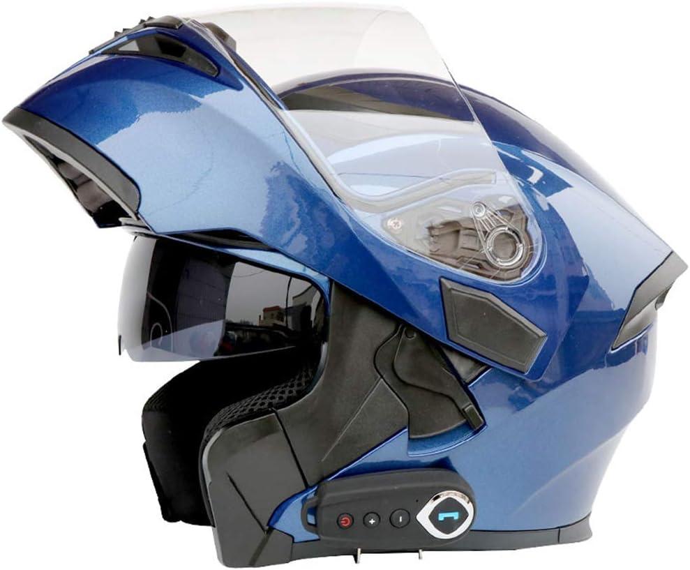 FYBAO Casco de Motocicleta Bluetooth integrada con micrófono Oculto Moto abatible Casco Integral con Doble Lente, FM