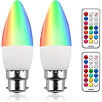 Colour Changing RGB B22 Dimmable LED Candle Bulb 3W, RGB + Warm White 3000K, 12 Color, Memory & Timing Function, Bayonet RGBW Coloured LED Bulb for Home/Decoration/Party/KTV Mood Lighting (2 Set)
