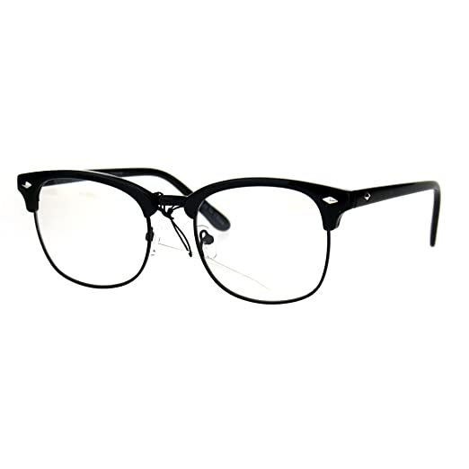 ddf9f737224d Mens Classic Horned Half Rim Hipster Nerdy Retro Eye Glasses All Black