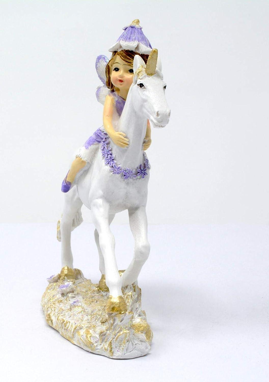 Piquaboo Violet et dor/é Petite F/ée d/équitation Licorne Statue Ornement 13/cm de Hauteur
