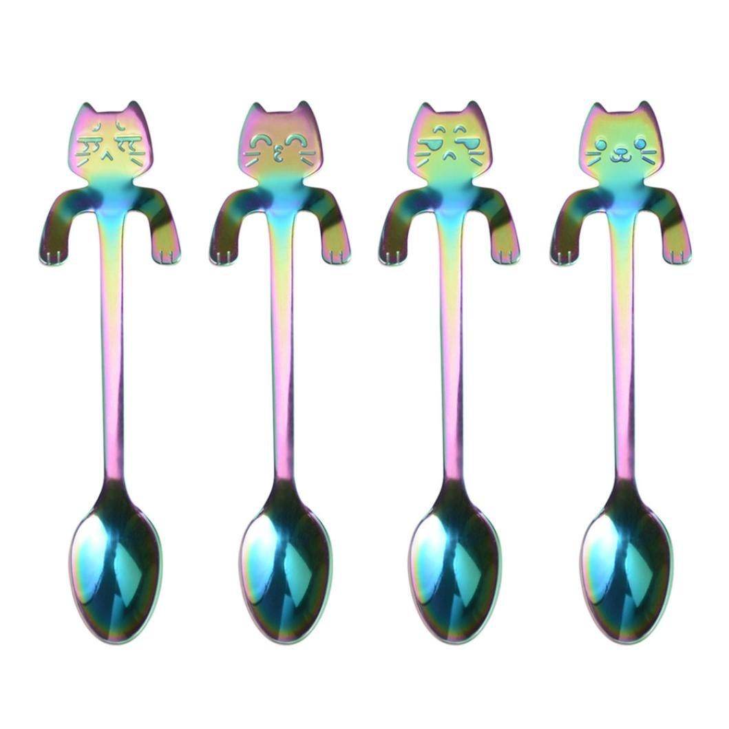 Creazy 4pcsキュート猫スプーン長いハンドルスプーンコーヒーDrinkingキッチンツール 11.7*1.9cm B07B2DFS9Z  マルチカラー