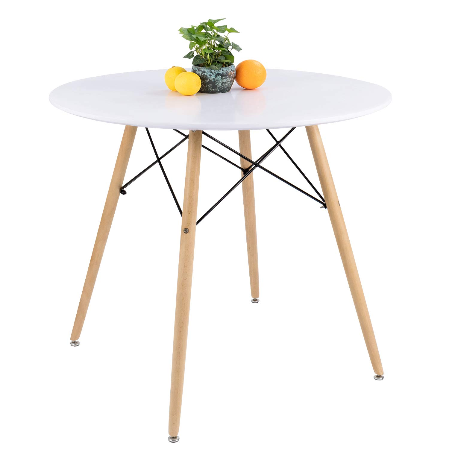 Furmax Kitchen Dining Table Modern Style Round Leisure Coffee Table,Office Coference Desk with Wood Legs for Kitchen Living Room(White)