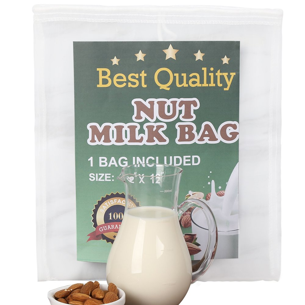 Nut Milk Bag Strong Reusable Almond Milk Bags -Best Premium Quality Organic Almond Milk- Commercial Food Grade Fine Nylon Mesh - Food Strainer & Cheese Maker Coffee & Tea Filter 1PC (Pack of 1) Ballad