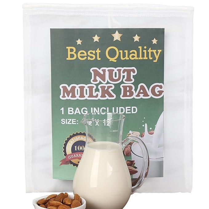 Compra Bolsa para Hacer Leches Vegetales, Nut Milk Bag Smoothies, Zumos Vegetales, Mermeladas y Germinados. Reutilizable. Colador Multiusos.
