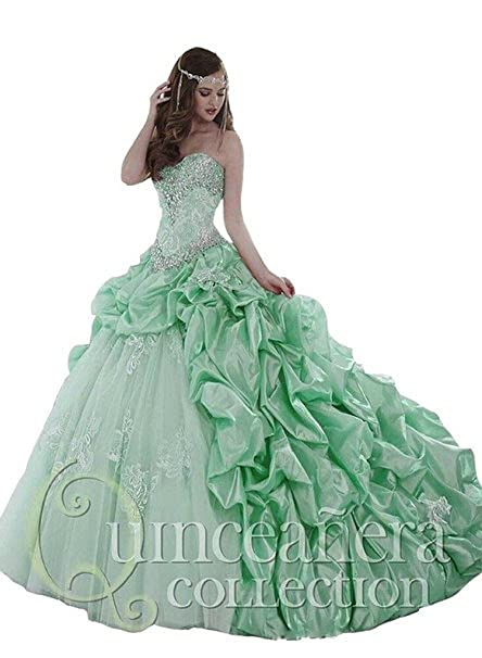 d30898bf585 Diandiai Sweetheart Ball Gown Quinceanera Dresses Beaded Crystals Party Gown  Green 6