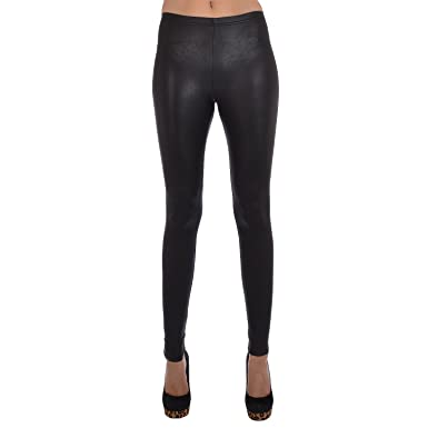 2b0b47460bfd21 Topshop Womens Wet Look Faux Leather Leggings - Black - 12: Amazon.co.uk:  Clothing