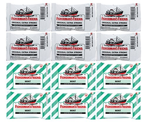 Fisherman's Friend Lozenges Cough Suppressant 240-Count Bundle – Original Extra Strong (6 packs) and Sugar Free Refreshing Mint (6 packs) Sore Throat Lozenges Original Mint