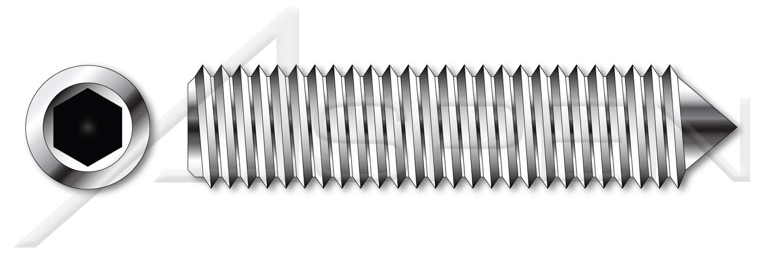 (750 pcs) #4-40 X 1/4'', Hex Socket Set Screws, Cone Point, Full Thread, AISI 304 Stainless Steel (18-8)